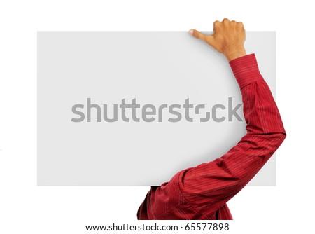 Man carry blank board - stock photo