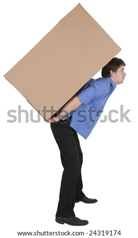 Man carrying heavy cardboard box. Courier holding large weight cargo isolated on white background