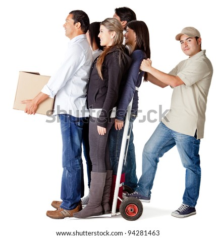 Man carrying people in a trolley for a delivery chain - isolated over a white background