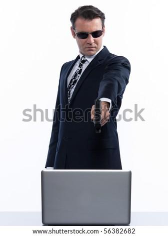 man caucasian pirate computer attack isolated studio on white backgroun
