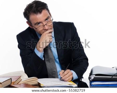 man caucasian teacher professor lecturing serious ponder isolated studio on white backgroun