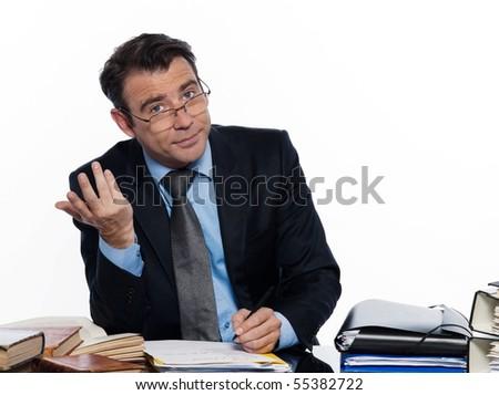 man caucasian teacher professor teaching isolated studio on white