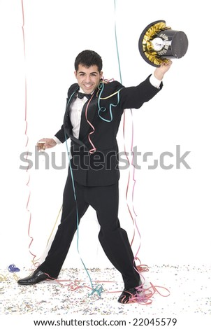 man celebrating the new year at a party with tuxedo