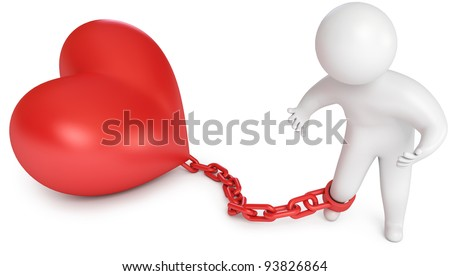 Man chained to the heart, love prisoner, marriage, 3d render - stock photo