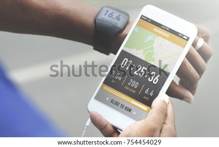 Man checking distance on smartphone #754454029