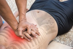 man chest compression lower half of sternum cpr training victim drowning course
