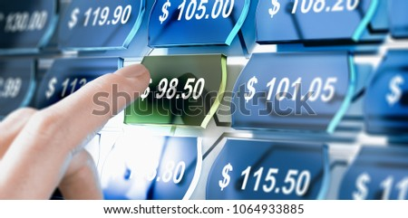 Man choosing the best deal on a price comparison website. Composite image between a hand photography and a 3D background.