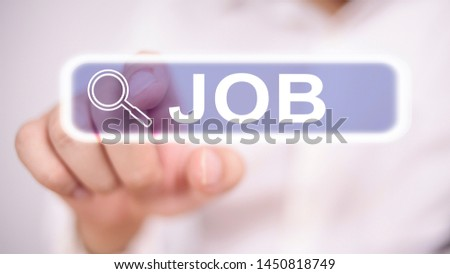 Man clicking virtual job search button, blurred selective focus image #1450818749