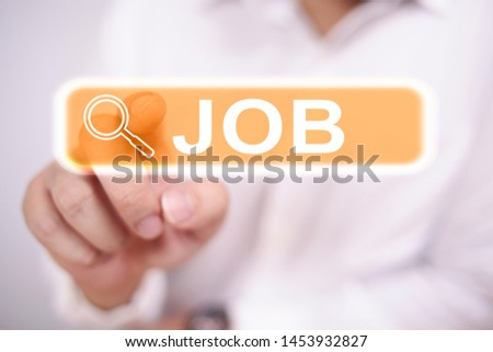 Man clicking virtual job search button, blurred selective focus image #1453932827