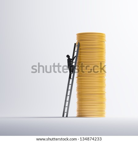 Man climbing a pile of gold coins