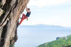 Man Climbing in Medveja, Croatia