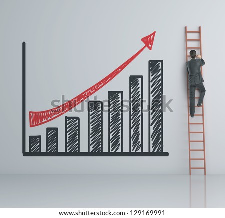 man climbing on ladder and chart