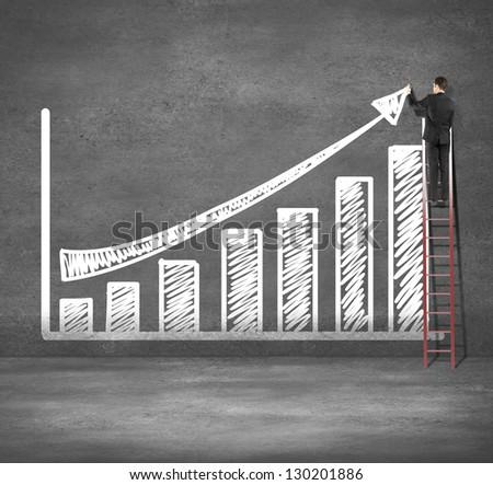 man climbing on ladder drawing business chart