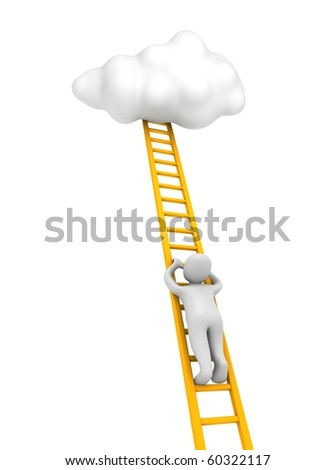 Man climbing to the cloud. 3d rendered illustration.