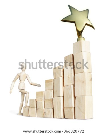 Man climbing up stairs to the award. Abstract image with a wooden puppet #366320792