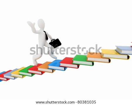 man climbs the stairs of the books