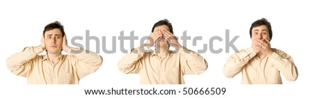 Man closing his ears, eyes and mouth in turn