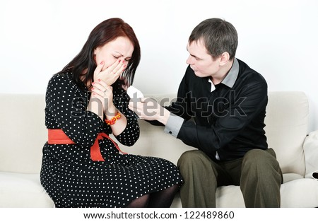stock photo comforting crying woman