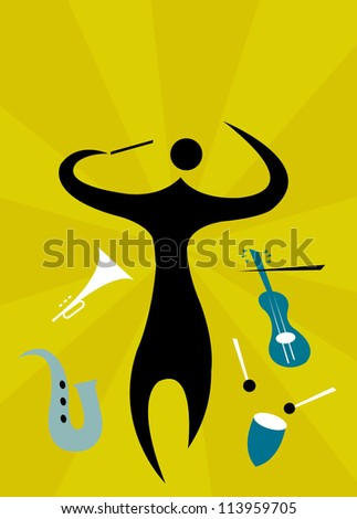 Man conducting orchestra of musical instruments