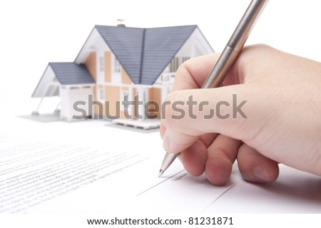 Man confirm mortgage contract (estate agency client sign contract) - stock photo