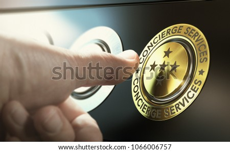 Man contacting concierge service by pushing a golden button. Composite image between a hand photography and a 3D background. Stock photo ©