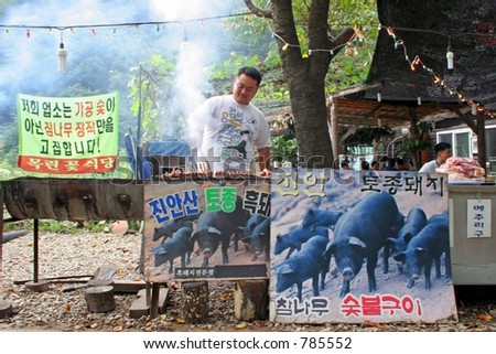 Man cooking pork on the barbecue