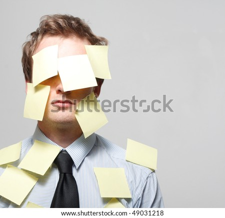 Man covered in yellow notes