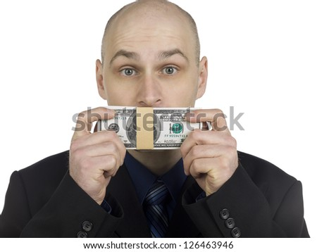 Man covering his mouth of dollar on white background