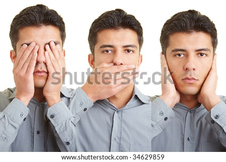 Man covering mouth, eyes and ears and re-enacts the proverb of the three wise monkeys (see no evil, hear no evil, speak no evil)