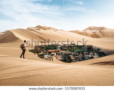 Man crossing the desert finds oasis Foto stock ©