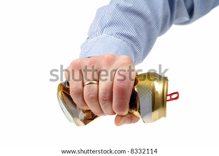 Man crushed beer-can isolated on white background