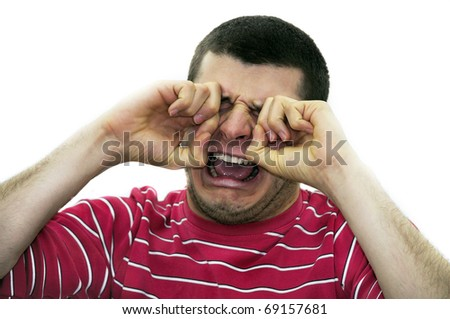 man crying isolated on white