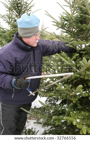 Man cutting a Christmas Tree at a tree farm