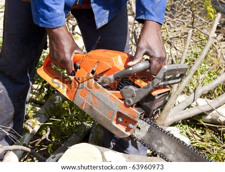 Man cutting tree with chain saw in sunshine