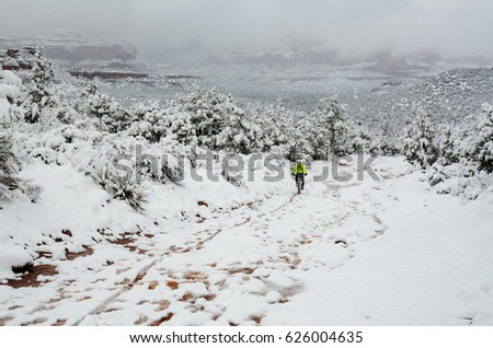 Man cycling after a snow storm on Devil's Bridge trail, Arizona, USA. Scenery of a snow covered trail and vegetation, cyclist riding towards camera. Active man pedaling his bike after a blizzard.