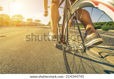 man cycling on the path