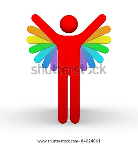 man 3d symbol with many multicolor hands