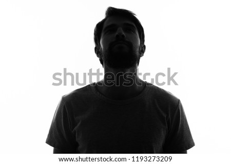 man dark silhouette on light background                             #1193273209