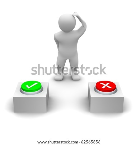 Man deciding which button to press. 3d rendered illustration. - stock photo