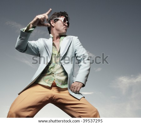 Man disco dancing outside - stock photo