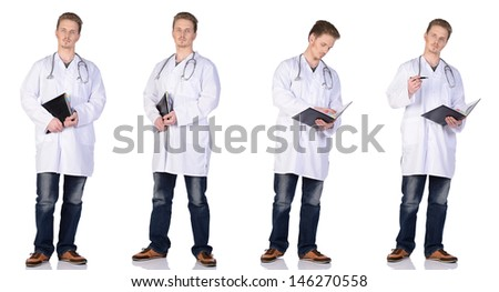 Man doctor in white suit with phonendoscope and notebook. Isolated on white background.