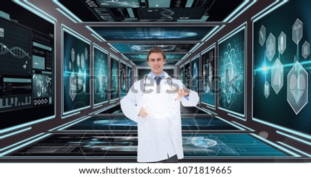 Man doctor interacting with interfaces against background with medical interfaces #1071819665