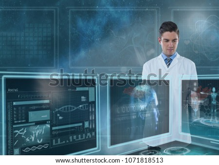 Man doctor interacting with medical interfaces against a sky with flares #1071818513