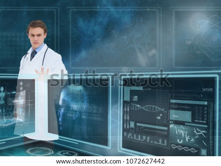 Man doctor interacting with medical interfaces against a sky with flares #1072627442