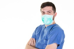 man doctor with protective covid-19 mask against virus epidemic coronavirus