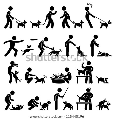 Man Dog Training Playing Pet Stick Figure Pictogram Icon