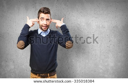 man doing a suicide gesture #335018384