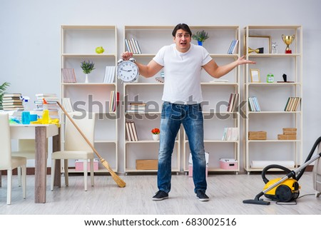 Man doing cleaning at home #683002516