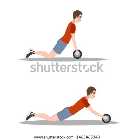 Man doing exercise in the gym. Belly burn workout. ABS workout. Healthy and active lifestyle. Isolated  illustration
