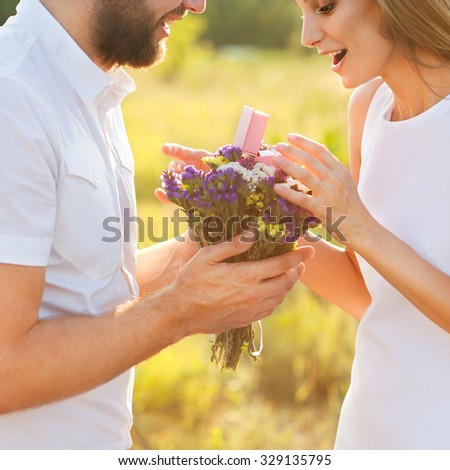 man doing on the nature engagement girl, surprise, emotion, sunset #329135795